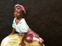 ANTIQUE GERMAN MAJOLICA POTTERY BLACK BOY ON MELON HUMIDOR