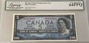 1954 Bank of Canada $5 Replacement - Legacy Choice New 64PPQ - S/N: *A/C0014403