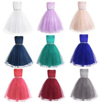US Lace Sequins Flower Girls Princess Dress Gown Wedding Pageant Party Formal