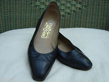 AUTH FERRAGAMO NAVY BLUE LEATHER GLASS  SHOES size 36.5 B