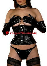 Gothic Black PVC Corset Waist Cincher Choker Collar Gloves Thong - 8 10 12 14 16