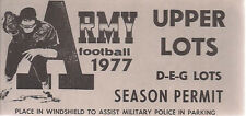 ARMY FOOTBALL 1977 SEASON PERMIT Parking Permit