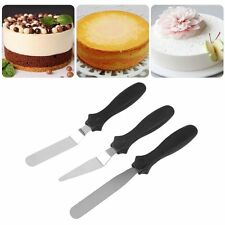 3pcs Black Stainless Steel Spatula Palette Knife Set Cake Decorating Tools Kit