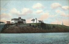 Penobscot Bay ME Fort Point Lighthouse c1910 Postcard