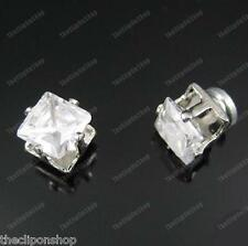 CLIP ON magnetic CUBIC ZIRCONIA 6mm SQUARE CZ EARRINGS