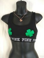 Victoria's Secret PINK Racerback Logo Sports Bra black and  Green size (XS) (AA)