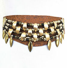 Vintage VTG 80s 1980s Brown Leather Waist Belt with Gold Beaded Detail