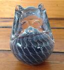 Vtg Swedish Crystal FM Konstglas Swirl Glass Owl Art Paperweight Ronneby Sweden