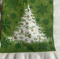 1 Vintage Mod 1970's Green Christmas Tree Paper Luncheon Napkin Decoupage NOS