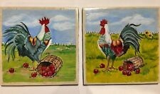 2 Rooster Ceramic Tiles Painted Signed 6 X 6 Decorative Tiles Felt Back New