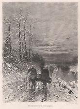 Ludwig MUNTHE: ritorno dalla pesca. acquaforte da Ernst Forberg, 1894