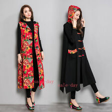 Womens Embroidered Hooded Waistcoat Floral Vest Chinese Folk Coat Cotton Jacket