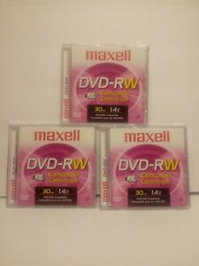 Lot of 3 Maxwell DVD-RW Camcorder Video Discs 30 Minutes 1.4 GB NEW Free Ship