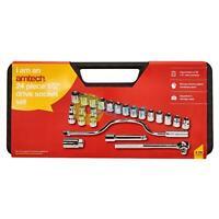 "24pc 1/2"" Drive Socket Set Metric Quick Release Ratchet Bar Mechanic Hand Tool"