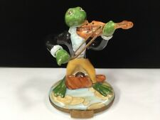 Tall Vintage Peint Main Limoges Box Frog Musician Playing Violin Fiddle 4 1/4""