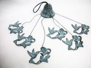 Bronze Metal Hummingbird & Flower Wind Chime Hanging Garden Art Mint Sticker