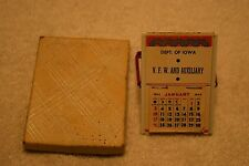 Vintage Dept Of Iowa VFW And Auxiliary 1943 Calendar Stand/Mirror In Org Box