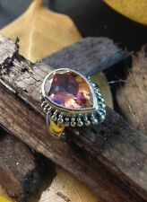 Sterling Silver 925 Handcrafted Mystic Topaz Twilight Pear Shape Ring Size 6