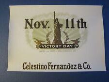 Original Old Antique Nov.11th VICTORY DAY Inner CIGAR Box LABEL - Statue Liberty