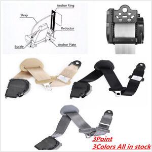 Retractable 3 Pt Short Iron Rod Buckle Auto Car Safety Seat Lap Belt Grey