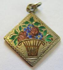 Antique Art Nouveau German Silver Enamel Rose Forget Me Not Flower Basket Charm
