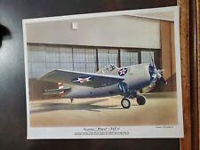 Vntg WW2 Flying Magazine Poster Insert Premium 8x10 Grumman Wildcat F4F-3