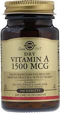 Dry Vitamin A by Solgar, 100 tablet 1500 MCG (5000 IU)