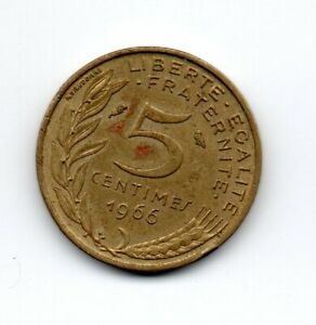 France 1966, Marianne wearing the Phrygian cap of liberty, 5 centimes