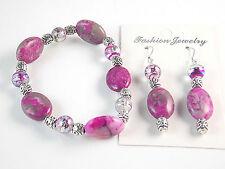 """Jewelry Fashion Purple Pink Stretch Gemstone Bracelet Earrings Set 7.75"""" US 1926"""
