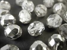 30pc 8mm Clear Silver Metallic Fire Polished Czech Glass Faceted Round Beads