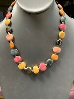 "Vintage Earth Tone  Mixed Ceramic Pretty Bohemian Bean Shape Beaded 18""Necklace"