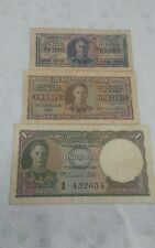1941,1942 Ceylon 10/25 cents and one rupee P-43a P-44a .F to VF