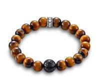 Thomas Sabo Jewellery TA1408XL Obsidian Tiger's Eye Bracelet XL 21cm RRP $139