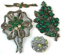 ART DECO RHINESTONE JEWELRY REPAIR CRAFT LOT GREEN RHINESTONE BROOCH PIN