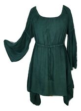 Gothic Medieval Pagan Dress Tunic  Bell Sleeve Bottle Green One Size 12 14 16 18