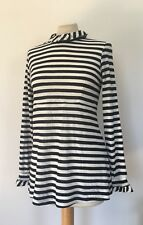 Sonia by Sonia Rykiel Button Back Striped High Collar Top Size S/M NEW Blouse