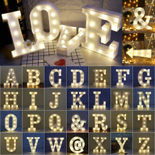 Alphabet LED Lights Light Up White Plastic Letters Standing Hanging A-Z & AU