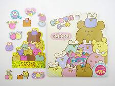 Kawaii Japanese mochi teddy bear & chick sticker flakes! Cute chubby animals