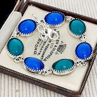 Vintage - CZECH Royal Bristol Blue & Green Glass Small Oval Cabochon Bracelet