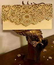 Ivory Cream Royal Vintage Laser Cut Wedding Invite Salami Money Gift Envelopes