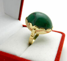 Vintage 18k Yellow Gold Green Oval Cabochon Turquoise Stone Ring 7.1 grams