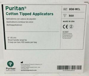 "Puritan 806-WCL Cotton Tipped Applicators w / 6"" Wooden Handle 500 /Box"