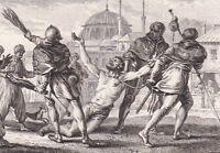 Gravure XVIIIe Foulques Nerra Comte d'Anjou Repentir Jérusalem Jérosolomitain