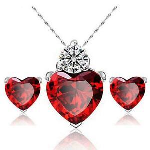 Job Lot 23x Joyen Zircon Crystal Jewellery Sets Heart Pendant Necklace Stud Ear