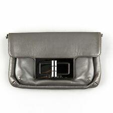 Chanel Metallic Grey Leather Crossbody Mini Bag or Clutch