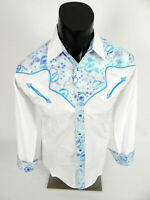 Mens Western Rodeo Cowboy Shirt White with Turquoise Inlay Paisley Snap Front