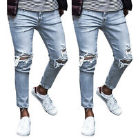 Mens Jeans Distressed Trousers Ripped Skinny Frayed Slim Fit Casual  Denim Pants