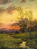 Paintings Landscape Sunset Countryside Tree Art Canvas Print