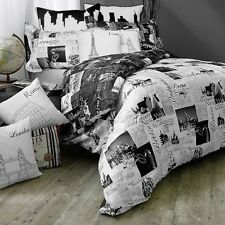 PASSPORT Black & White PARIS/FRANCE TWIN Reversible Duvet Cover For Comforter