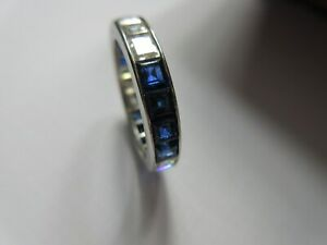 Cartier platinum diamond sapphire eternity band ring 3.65 carats